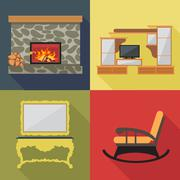 Fireplace home decoration icon set, flat style. Digital vector image Stock Illustration