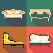 Bedroom home decoration icon set, flat style. Digital vector image Stock Illustration