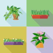 Home decorative flowers icons set. Digital vector image Stock Illustration