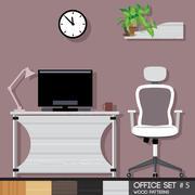 Office style interior set. Digital vector image Stock Illustration