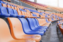 Seat for sports in stadium copy space background, select focus Stock Photos
