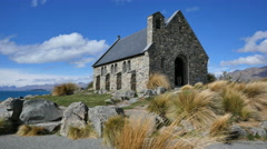 New Zealand historic church standing at Lake Tekapo Stock Footage