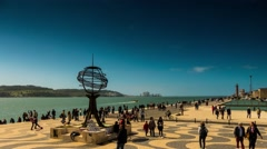 Monument to Discoveries in Belem, Lisbon, Portugal Stock Footage