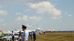August 2016: Kazan, AviaShow Kurkachi - three planes flying and performs Stock Footage