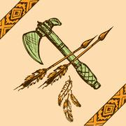 Native American Indian tomahawks Stock Illustration