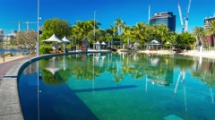 Streets Beach in South Bank Parkland, Brisbane Stock Footage