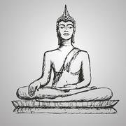 Hand drawn Buddha in meditation. Stock Illustration