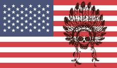 Native american indian chief headdress  on usa flag background Stock Illustration