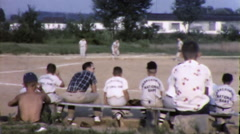 Boys Wait Backbench to Play BASEBALL Game Team Vintage Film Home Movie 9871 Stock Footage