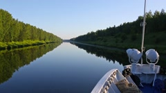 Ship goes on the Moscow Canal Stock Footage