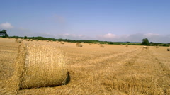 ROLLED HAY BAILS WEST AYTON SCARBOROUGH Stock Footage