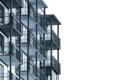 Apartment building with balconies isolated Stock Photos