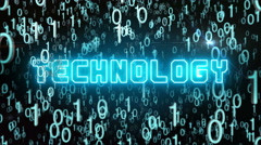 Bluish Technology concept with digital code Stock Footage
