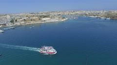 Coast City apartments boats marina - Panoramic Stock Footage