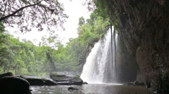 Amazing beautiful waterfalls in deep forest at Haew Suwat Waterfall Stock Footage