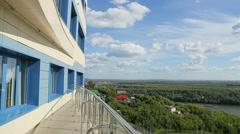 Beautiful View Of Hilton Garden Inn Ufa Riverside,Ufa, Bashkortostan Stock Footage