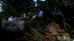 Low angle shot junk dump on meadow summer forest evening Stock Footage