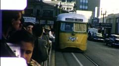 People Wait Street Car Mexicans Juarez Mexico 1960s Vintage Film Home Movie 9852 Stock Footage