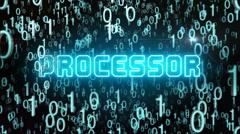 Bluish Processor concept with digital code Stock Footage