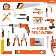 Set of construction tools on a white background. Vector concept - Home Stock Illustration