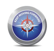 Keep moving forward compass sign concept Stock Illustration