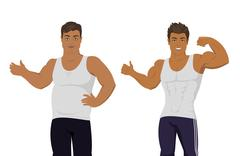 Figure of the Man Before and After Diet Stock Illustration