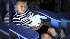 Little Boy Holds Cute Pet Bunny Rabbit 1960s Vintage Film Home Movie 9793 Stock Footage