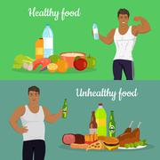 Healthy and Unhealthy Food. Weight Loss Stock Illustration