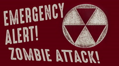 Emergency Alert Zombie Attack Vintage Stock Footage