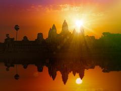 Angkor Wat on sunset Stock Photos