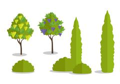 Set of Isolated Trees and Bushes Stock Illustration