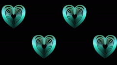 Green hearts in metal design moving and dancing on black background Stock Footage