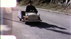 Man Rides Soapbox Derby Go Cars Carts 1960s Vintage Film Home Movie 9886 Stock Footage