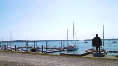 Portland Dock Boats in the bay of Portland, Maine Stock Footage