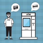 Flat ATM and a man need money Stock Illustration