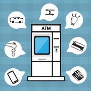 Flat ATM vector design . Stock Illustration