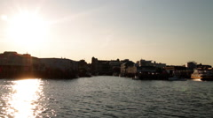 View of Portland Harbor as the sun sets in Portland, Maine. Stock Footage