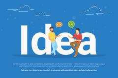 Idea concept illustration of two young people talking about new business idea Stock Illustration