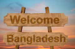 Welcome to  Bangladesh sing on wood background Stock Photos