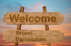 Welcome to  Brunei Darussalam sing on wood background Stock Photos