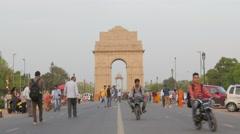People enjoying walk at India gate,New Delhi,India - stock footage
