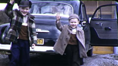Two Little Boys Wave Hello Goodbye 1940s Vintage Film Home Movie 9811 Stock Footage