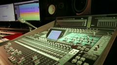 Music mixer in recording studio buttons camera sliding Stock Footage