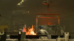 Industrial fire move molten steel cauldron Stock Footage