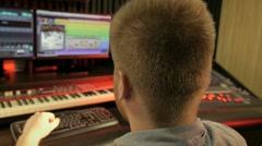 Music recording studio working computer camera sliding Stock Footage