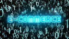 Bluish E-Commerce concept with digital code Stock Footage