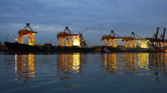 Speed video of port at morning Stock Footage