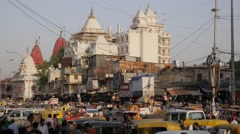 Busy Chandni chowk and Shri Gori Shankar Mandir,New Delhi,India Stock Footage