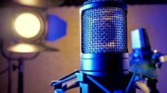 Lighting effects studio microphone lights sliding camera Stock Footage