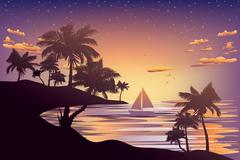 Tropical Island at Sunset Stock Illustration
